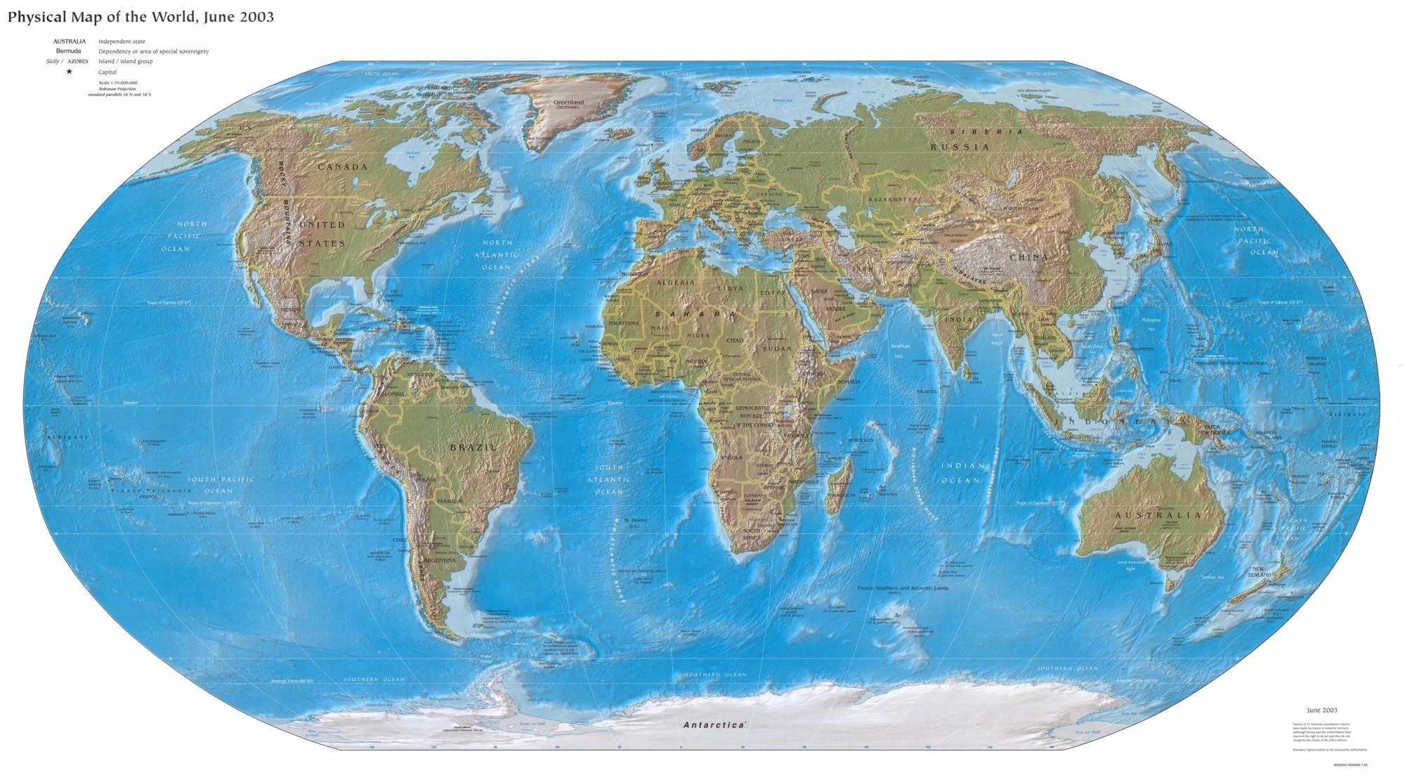 A Föld domborzati- és vízrajzi térképe az országhatárokkal