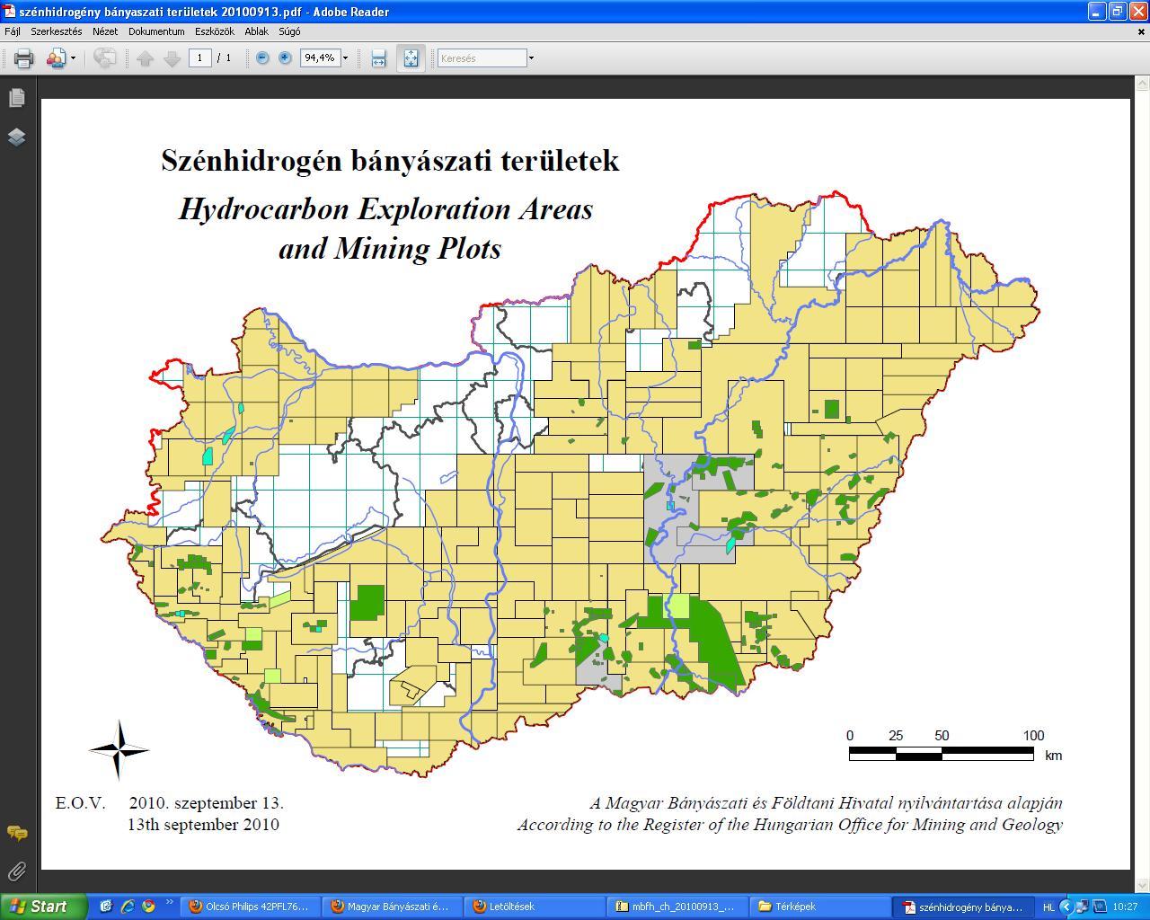 Szénhidrogén bányászati területek