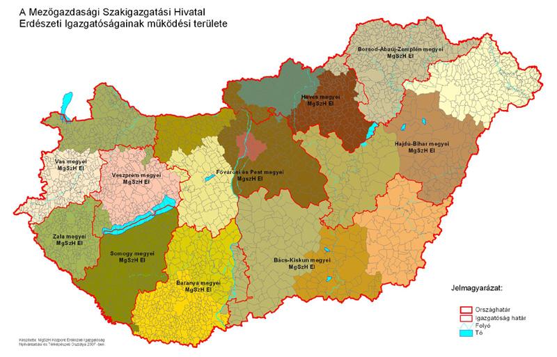 Erdészeti Igazgatóságok működési területe