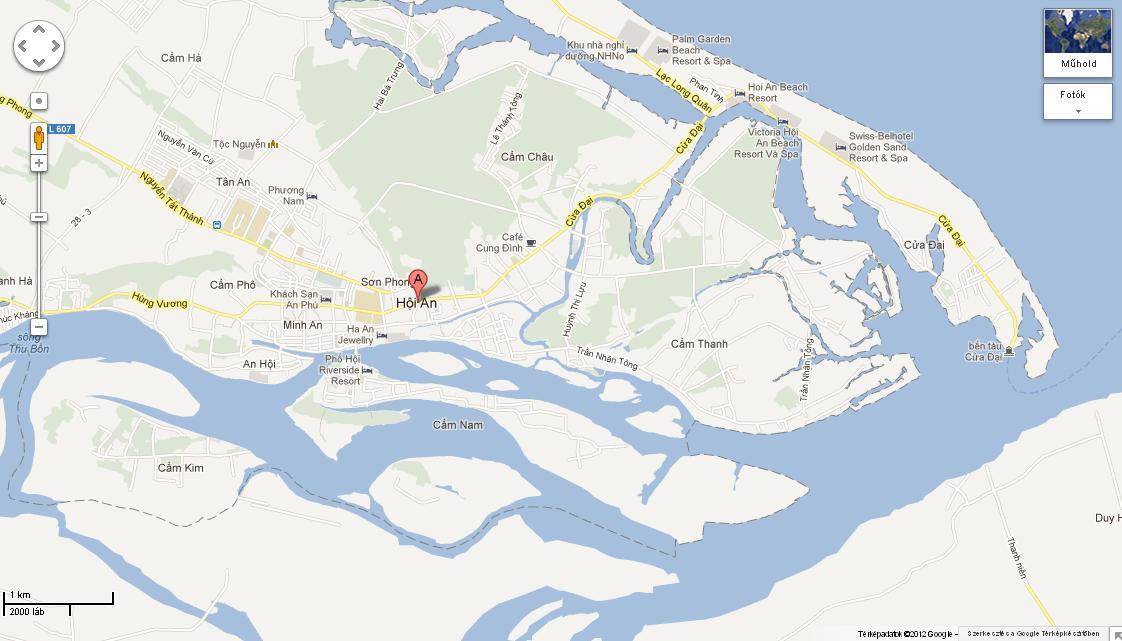 Hoi An és Cua Dai Google térképen