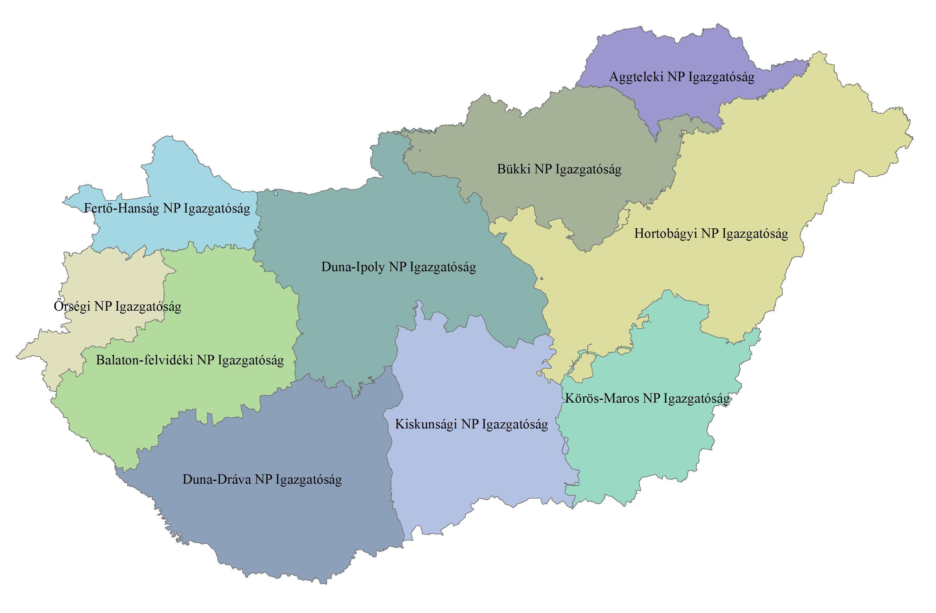 A Nemzeti Park Igazgatóságok működési területei