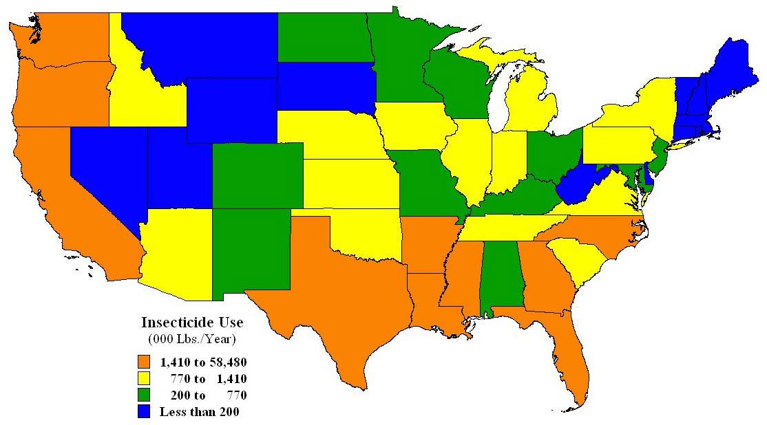 Rovarölőszerek használata az USA-ban, 2002