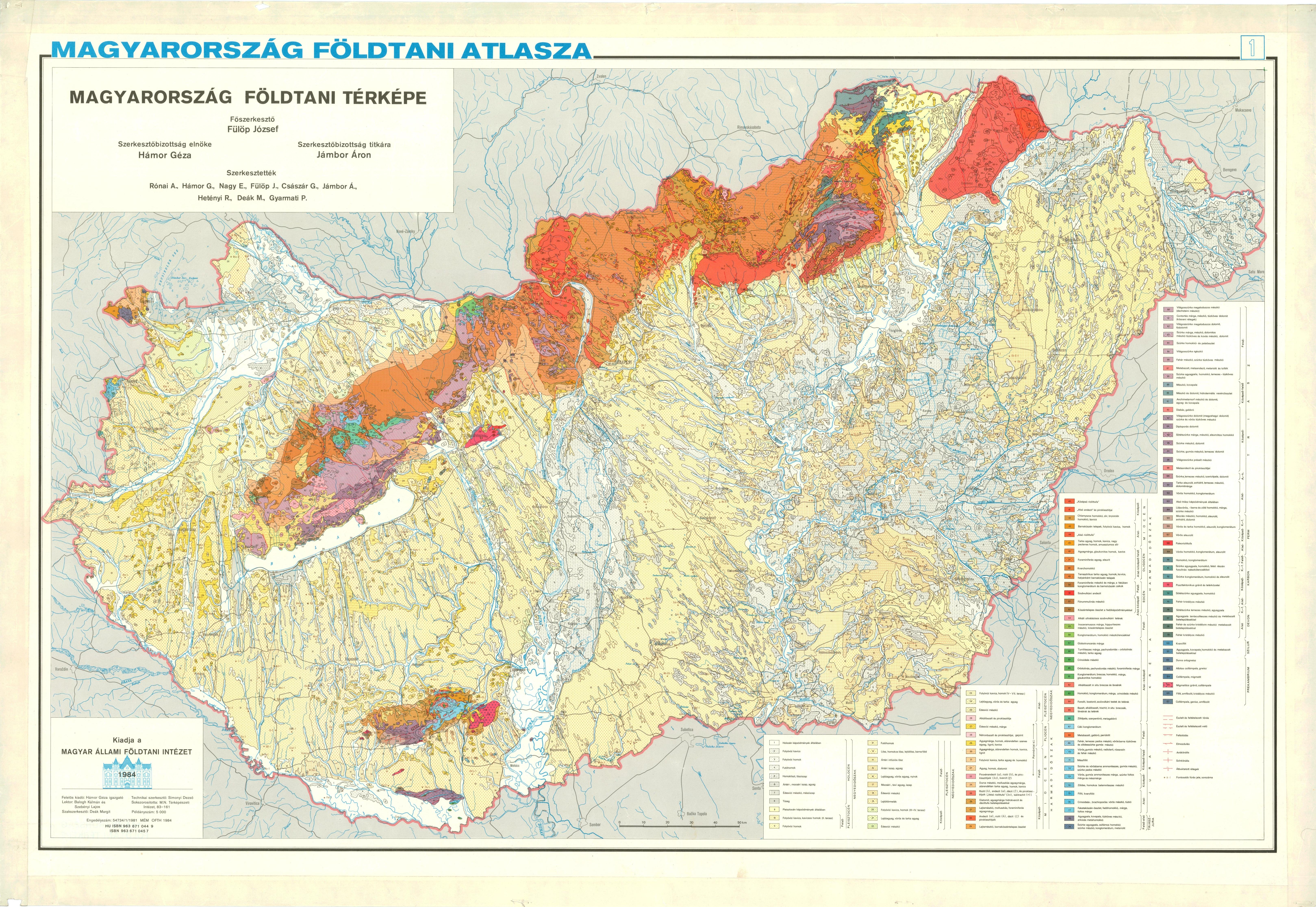 Magyarország földtani térképe(1984)