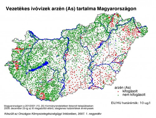 Drinking water contaminated with arsenic in Hungary