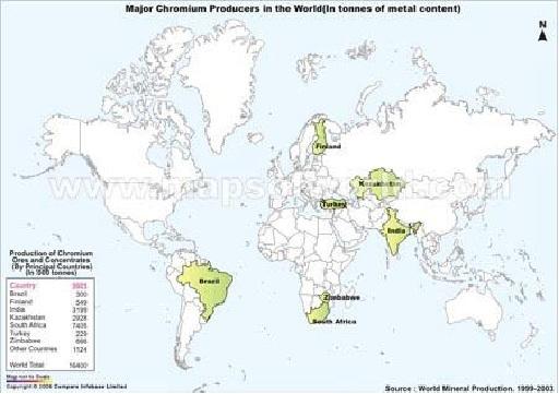Chromium production on Earth