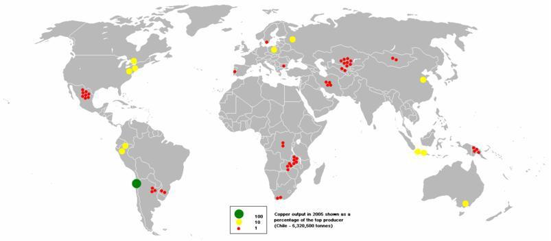 rézbányászat a Földön (2005)