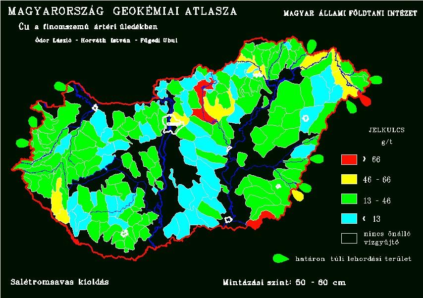 Réz természetes koncentrációja Magyarország talajaiban