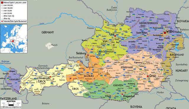 Political map of Austria