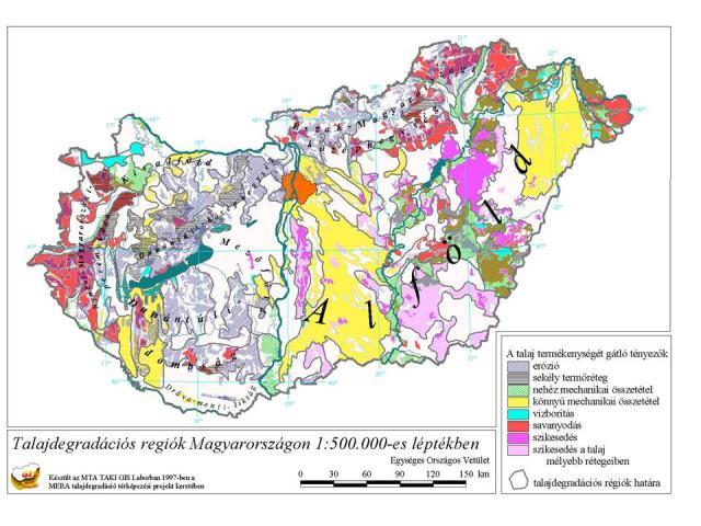 Talajdegradációs régiók Magyarországon